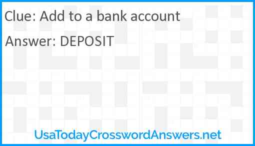 Add to a bank account Answer