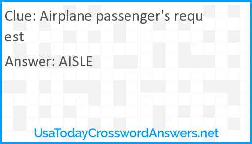 Airplane passenger's request Answer