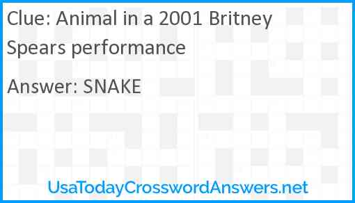 Animal in a 2001 Britney Spears performance Answer