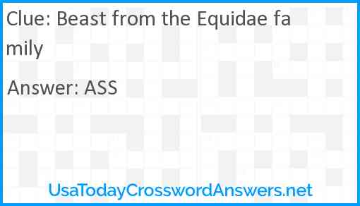 Beast from the Equidae family Answer