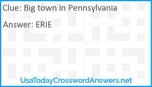Big town in Pennsylvania Answer