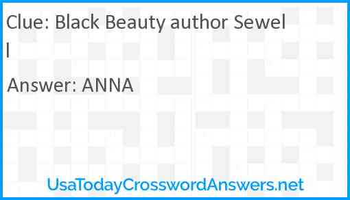 Black Beauty author Sewell Answer