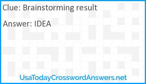 Brainstorming result Answer