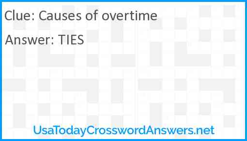Causes of overtime Answer