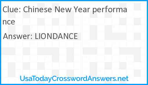 Chinese New Year performance Answer