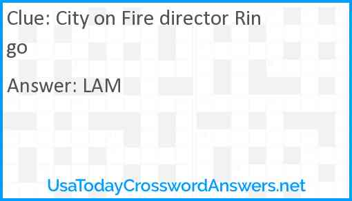 City on Fire director Ringo Answer