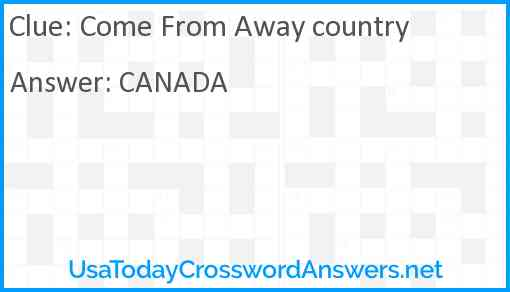 Come From Away country Answer
