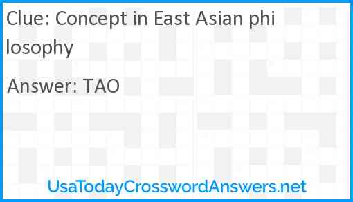 Concept in East Asian philosophy Answer