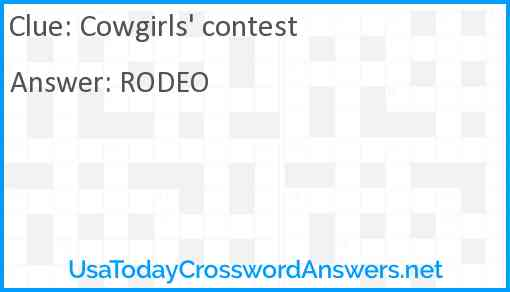 Cowgirls' contest Answer