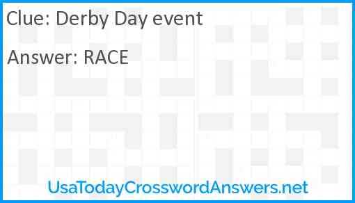Derby Day event Answer