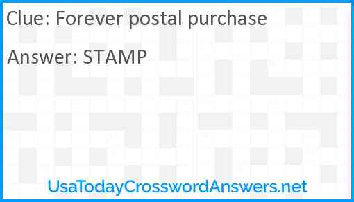 Forever postal purchase Answer