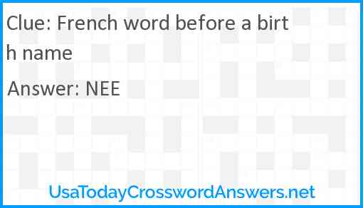 French word before a birth name Answer