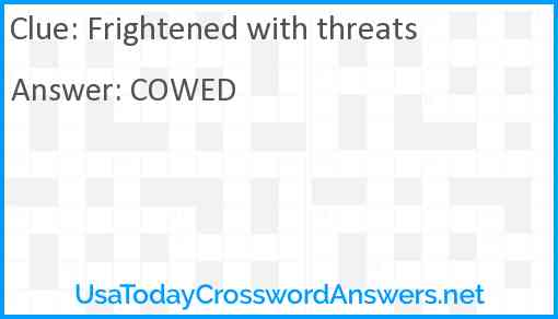 Frightened with threats Answer