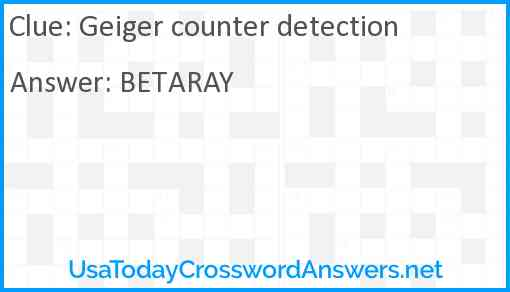 Geiger counter detection Answer