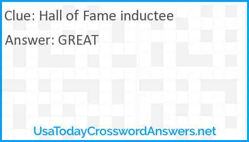 Hall of Fame inductee Answer