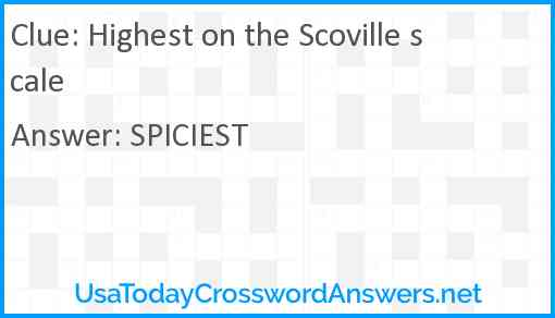 Highest on the Scoville scale Answer