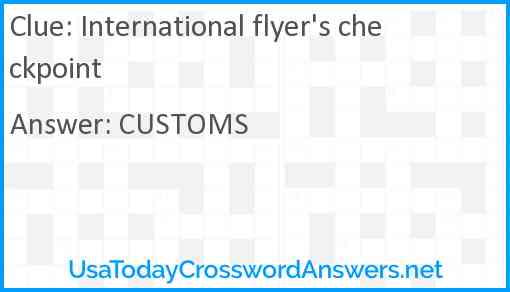 International flyer's checkpoint Answer