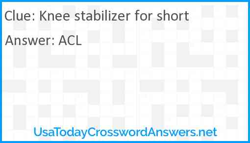 Knee stabilizer for short Answer