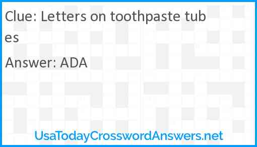 Letters on toothpaste tubes Answer