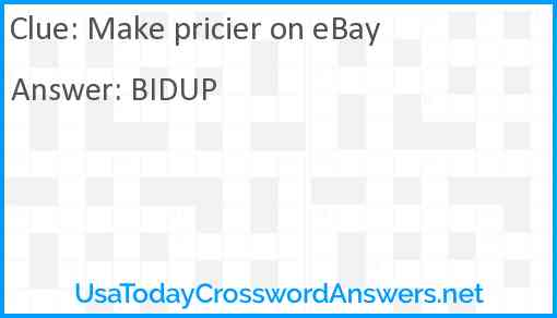 Make pricier on eBay Answer