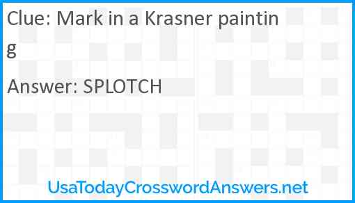 Mark in a Krasner painting Answer