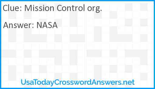 Mission Control org. Answer