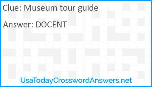 Museum tour guide Answer