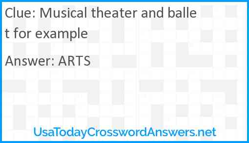 Musical theater and ballet for example Answer