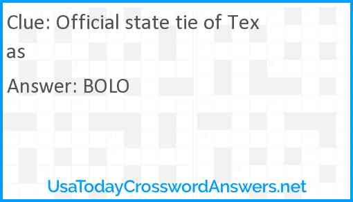 Official state tie of Texas Answer