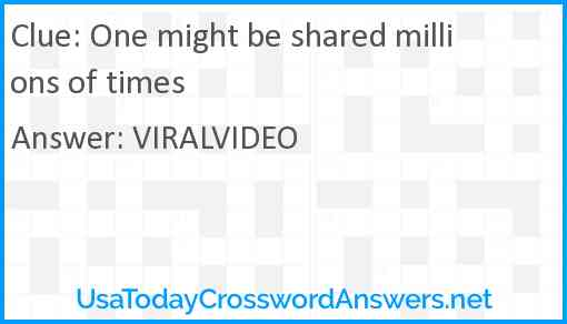 One might be shared millions of times Answer