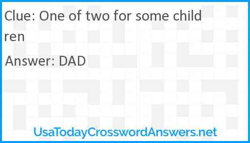 One of two for some children Answer