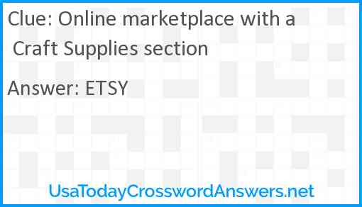 Online marketplace with a Craft Supplies section Answer