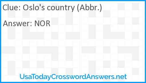 Oslo's country (Abbr.) Answer