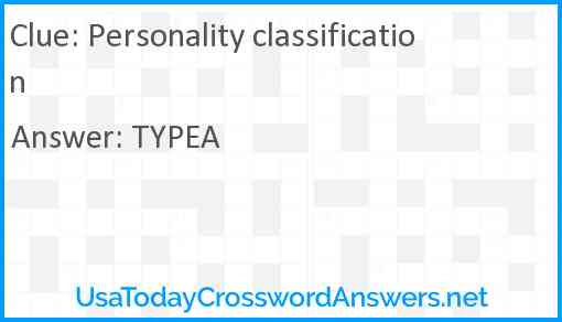 Personality classification Answer