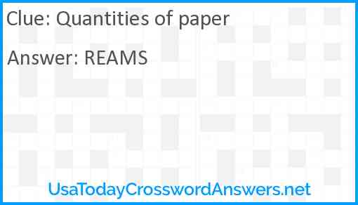 Quantities of paper Answer