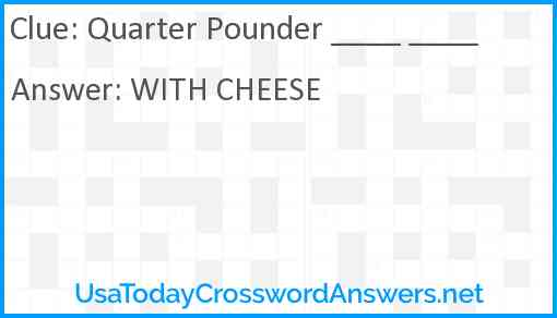 Quarter Pounder ____ ____ Answer