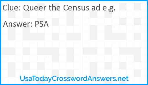 Queer the Census ad e.g. Answer