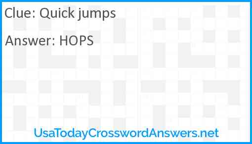 Quick jumps Answer