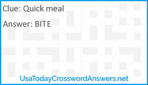 Quick meal Answer