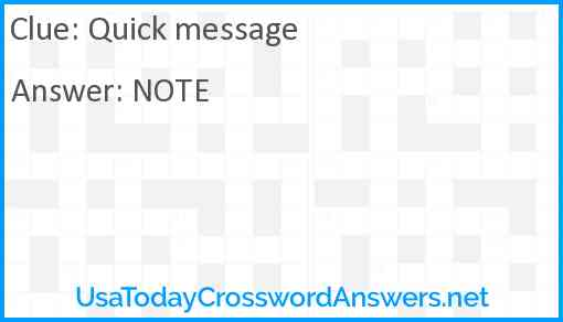 Quick message Answer