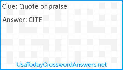 Quote or praise Answer