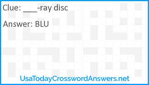 ___-ray disc Answer