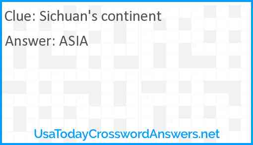 Sichuan's continent Answer