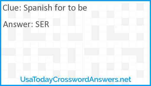 Spanish for to be Answer