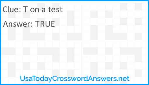 T on a test Answer