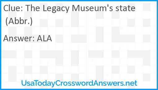 The Legacy Museum's state (Abbr.) Answer