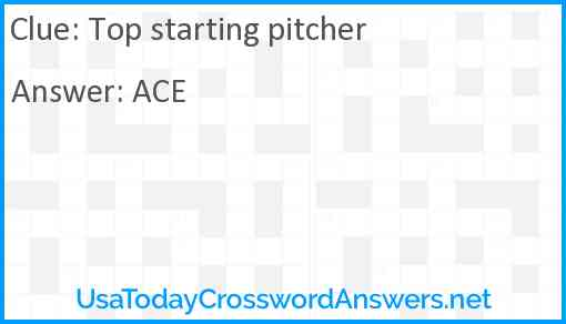 Top starting pitcher Answer