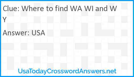 Where to find WA WI and WY Answer