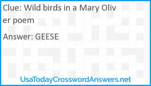 Wild birds in a Mary Oliver poem Answer