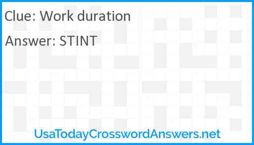 Work duration Answer